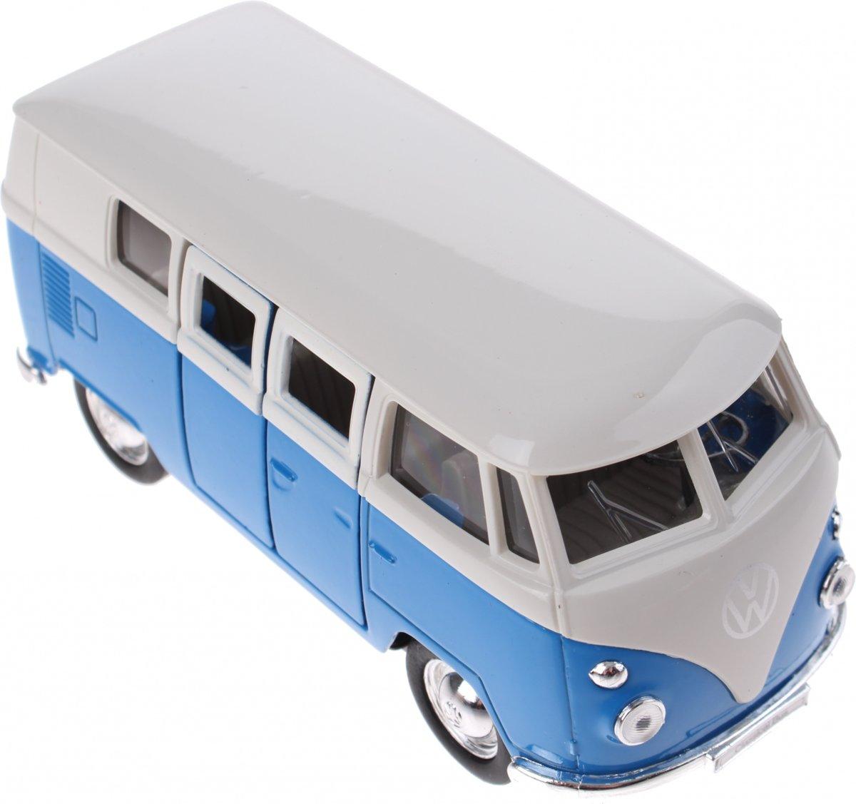 Welly metalen Volkswagen bus blauw 11,5 cm