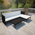 Poly Rattan Lounge set voor buiten met een 3-zits bank (zwart)