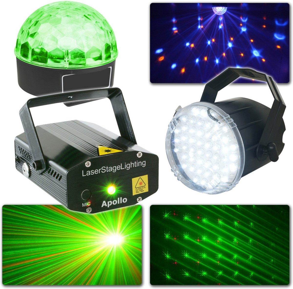 Complete BeamZ lichtset met Laser, Jelly Ball en stroboscoop