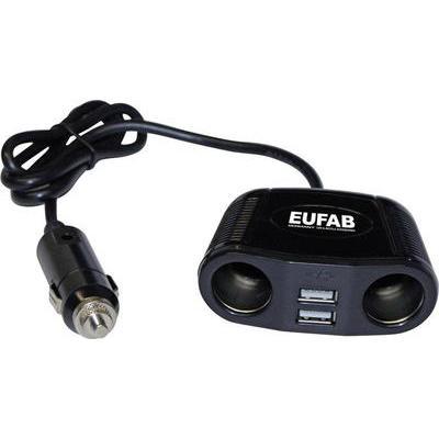 Eufab Dubbel stopcontact 12 V met kabel en USB-aansluiting Stroombelasting (max.)=10 A