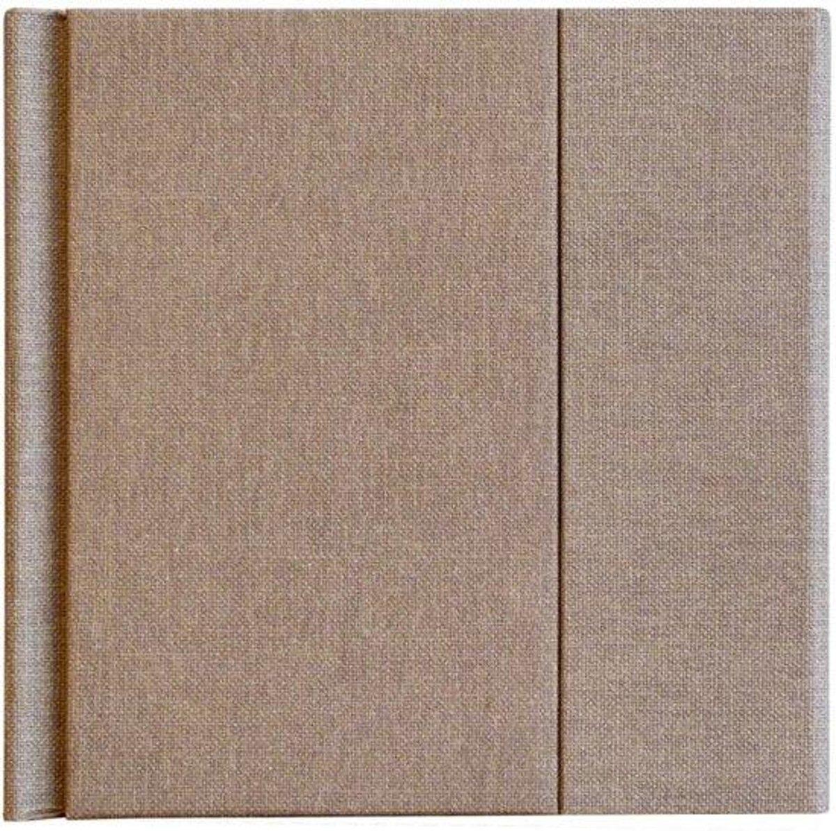 FotoHolland -Zelfklevend Fotoalbum 20x20 cm  - 12 pagina's wit Canvas donkerbruin / walnoot - TEC202012WA