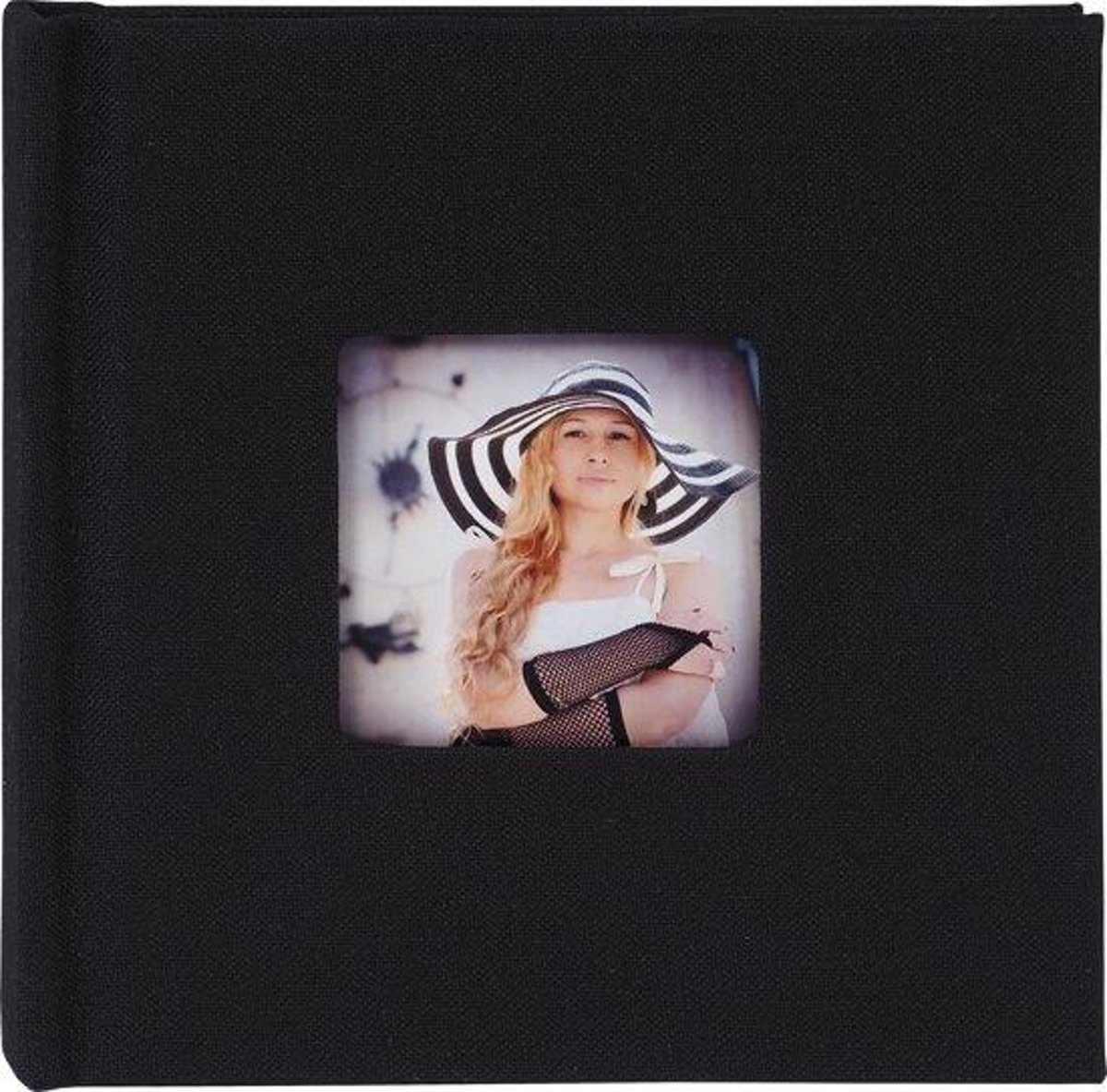 FotoHolland -Mini Fotoalbum 10x10 cm - 12 pagina's zwart Brillianta zwart, met venster - MBB101012BL
