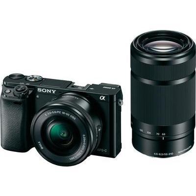 Sony ILCE-6000YB E-mount systeemcamera 24.3 Mpix Zwart Incl. SEL-P16-50 mm en SEL-55-210 mm lenzen