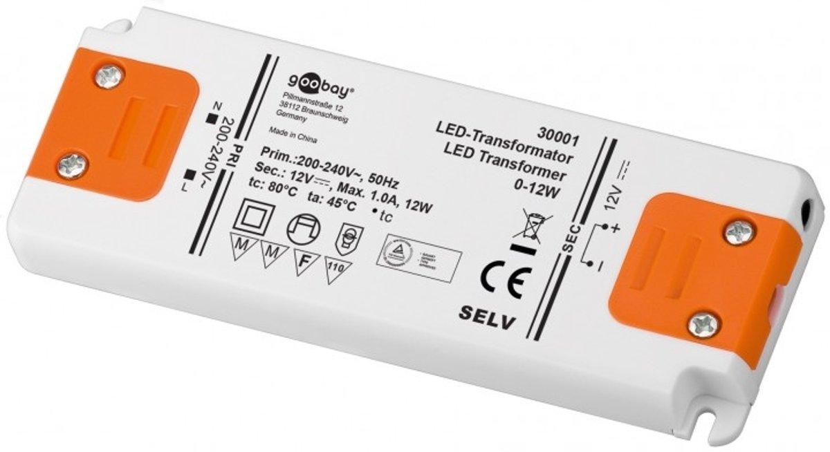 Goobay Set 12-12 LED slim LED-netvoeding 12 W 12 V DC klem + 3,7 mm DC-bus 1000 mA