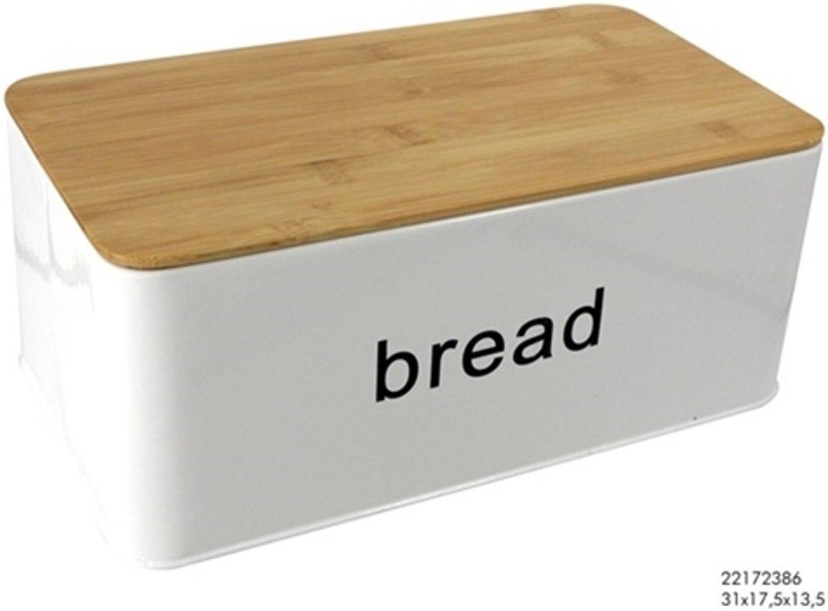 Imperial Kitchen Broodtrommel - Met Snijplank - Metaal - Wit
