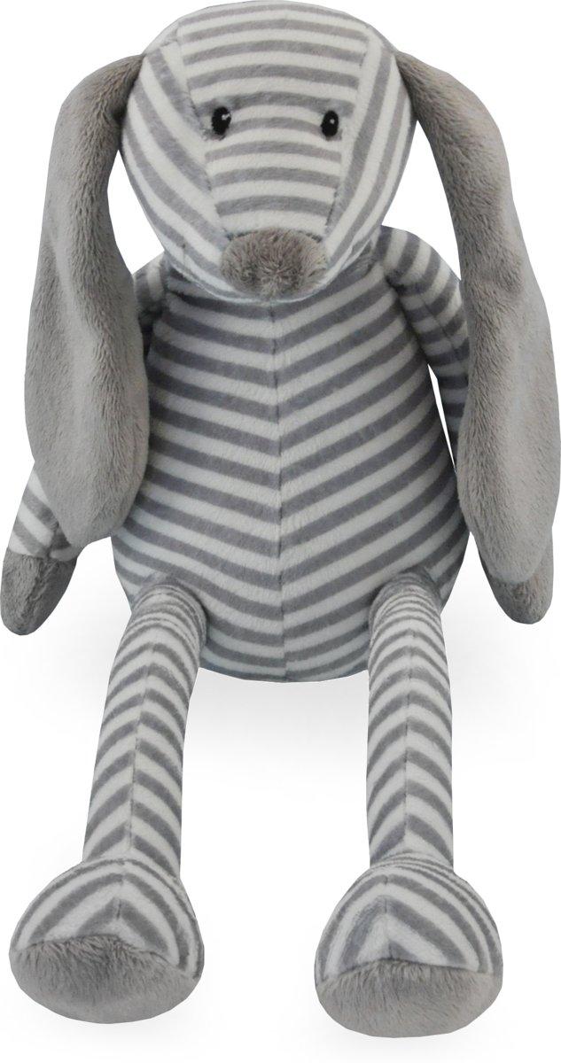 Knuffel hond grijs gestreept