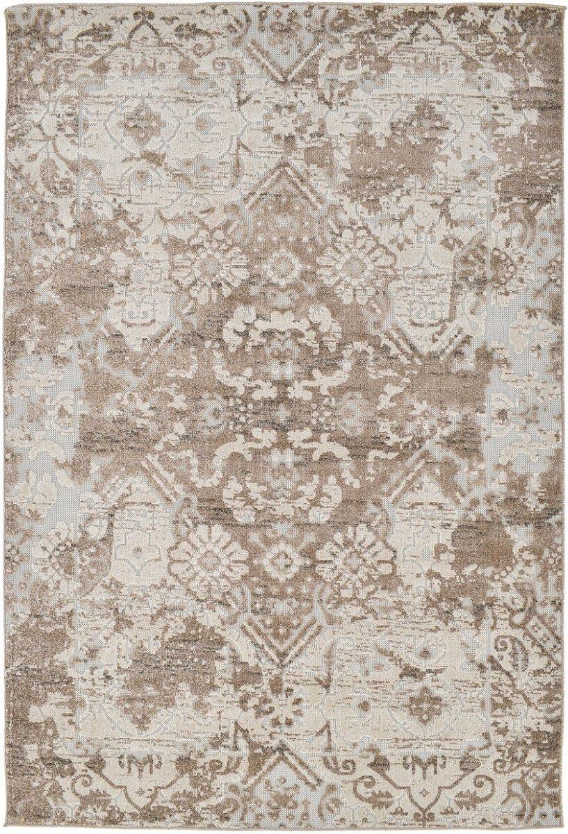 Klassiek tapijt beige met sierprint, binnen en buiten - 60 x 110 cm
