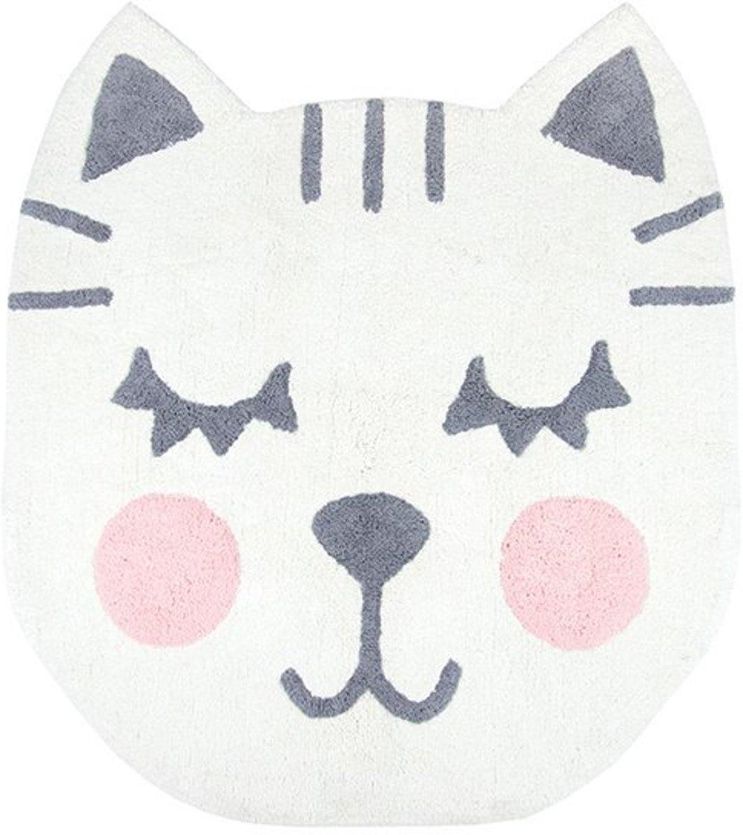 Vloerkleed Kinderkamer & Babykamer Betsy Cat - Rond Vloerkleed - Tapijt 100 x 110 cm