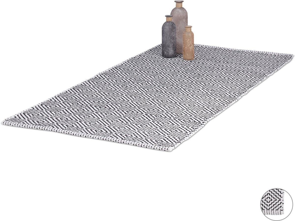 relaxdays vloerkleed - tapijt - katoen - zwart wit - kleed - woonkamer - anti-slip 70x140cm