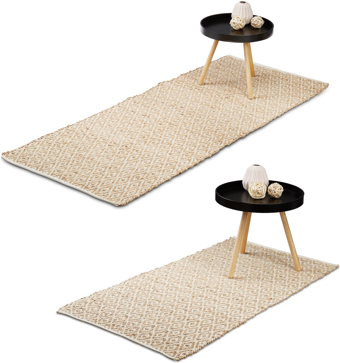 relaxdays - jute vloerkleed - loper - tapijt - handgemaakt - bruin - vloermat
