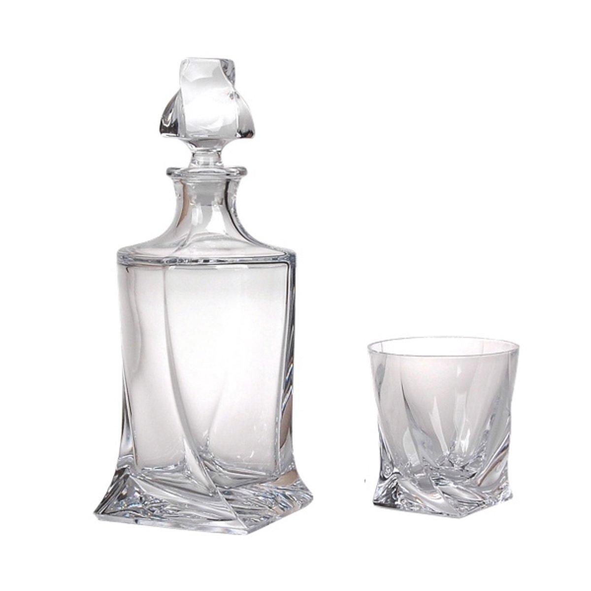Crystalite A Quadro whiskey karaf met 6 whiskey glazen