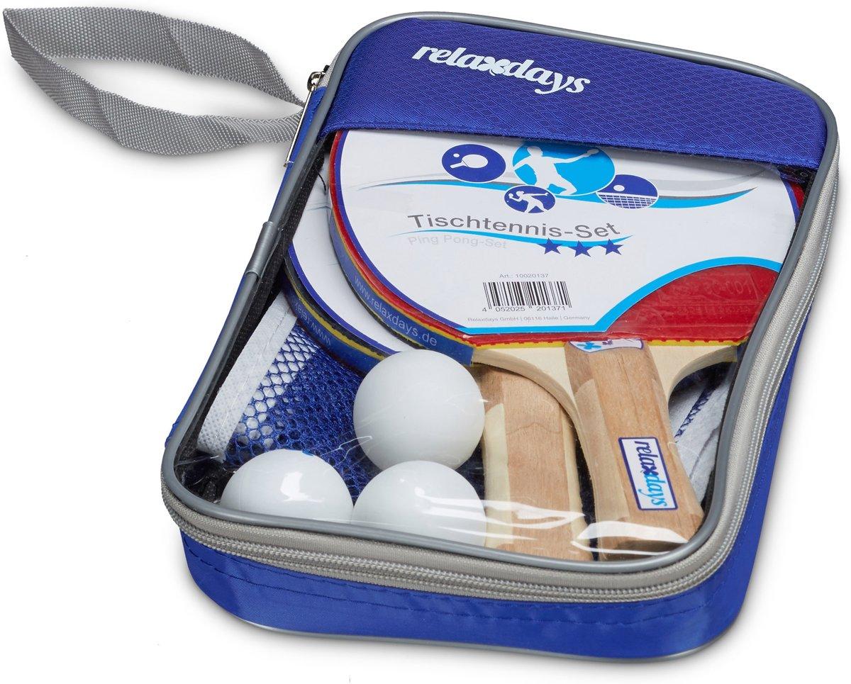 relaxdays - tafeltennis set met 2 batjes, 3 ballen, net en tasje - pingpong set