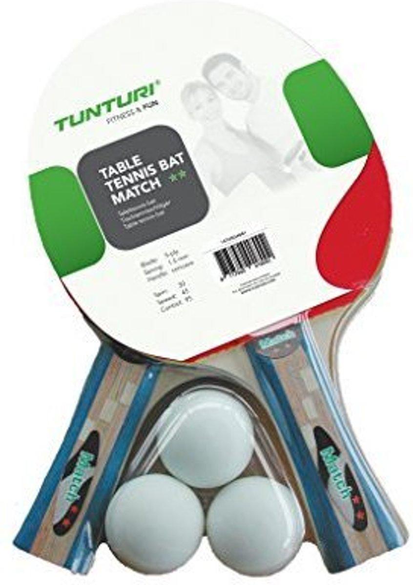 Tunturi Tafeltennisbatjes set - Match - incl. 2 batjes en 3 ballen