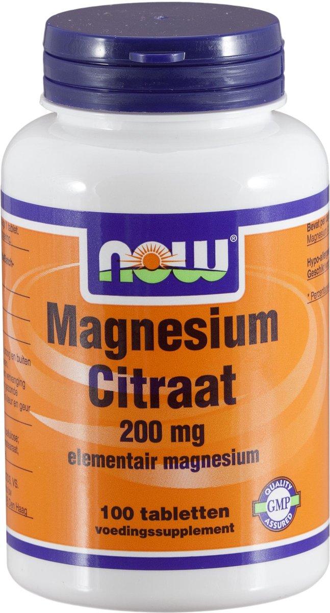 Now Magnesium Citraat 200mg 100tabl