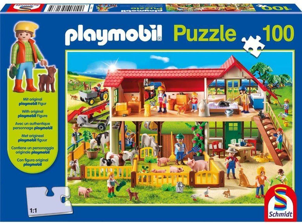 PLAYMOBIL boerderij kinderpuzzel 100 stukjes