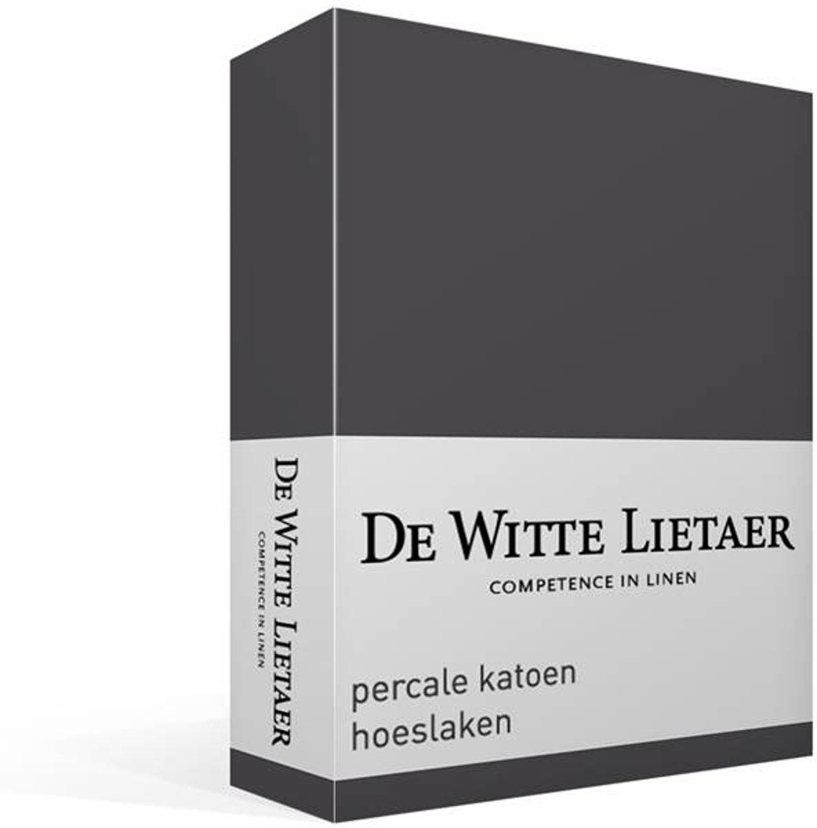 De Witte Lietaer percale katoen hoeslaken - 100% percale katoen - Lits-jumeaux (200x200 cm) - Grijs