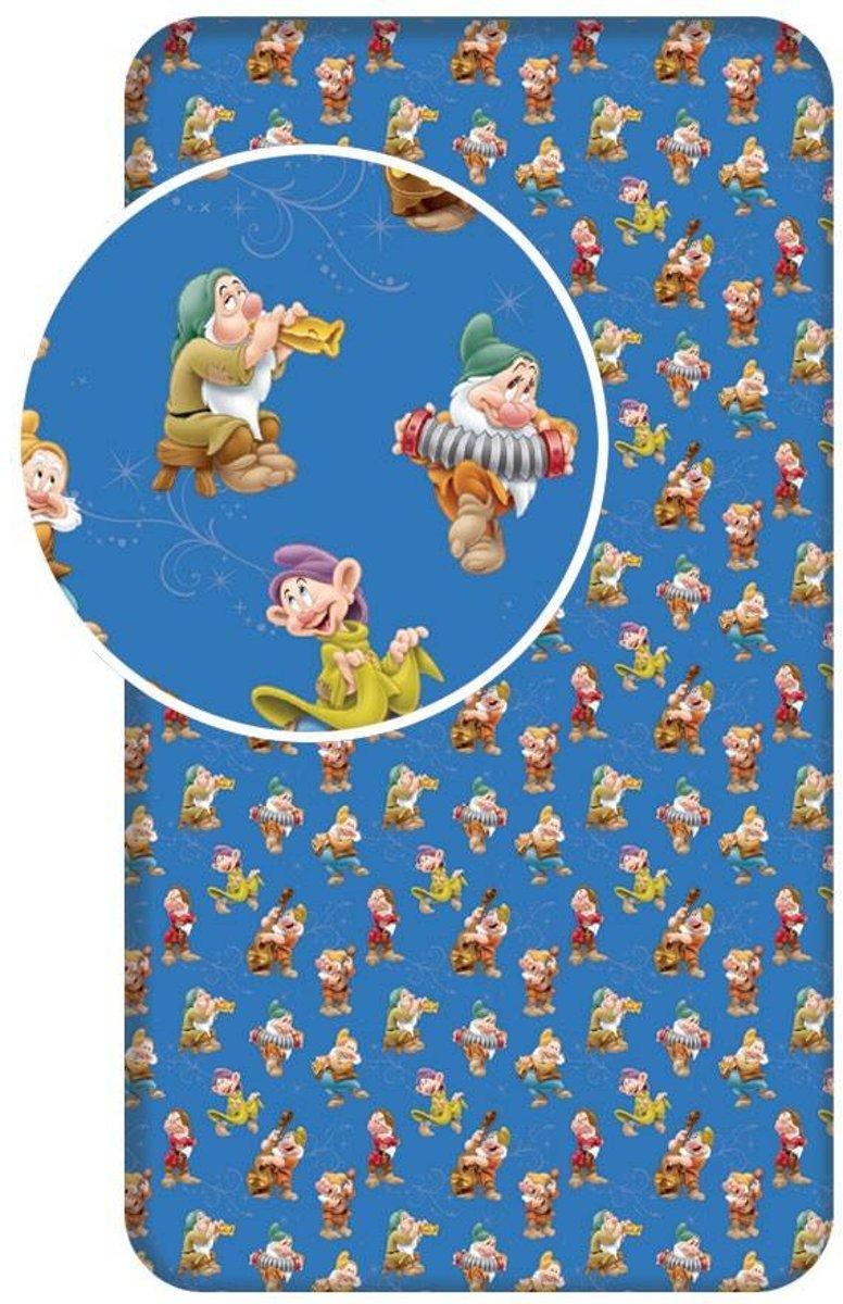 Disney Zeven Dwergen - Hoeslaken - Eenpersoons - 90 x 200 cm - Blauw