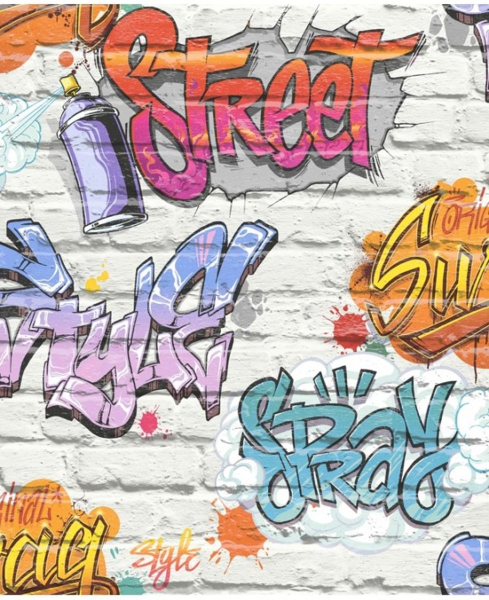 DUTCH WALLCOVERINGS Behang graffiti meerkleurig L179-05