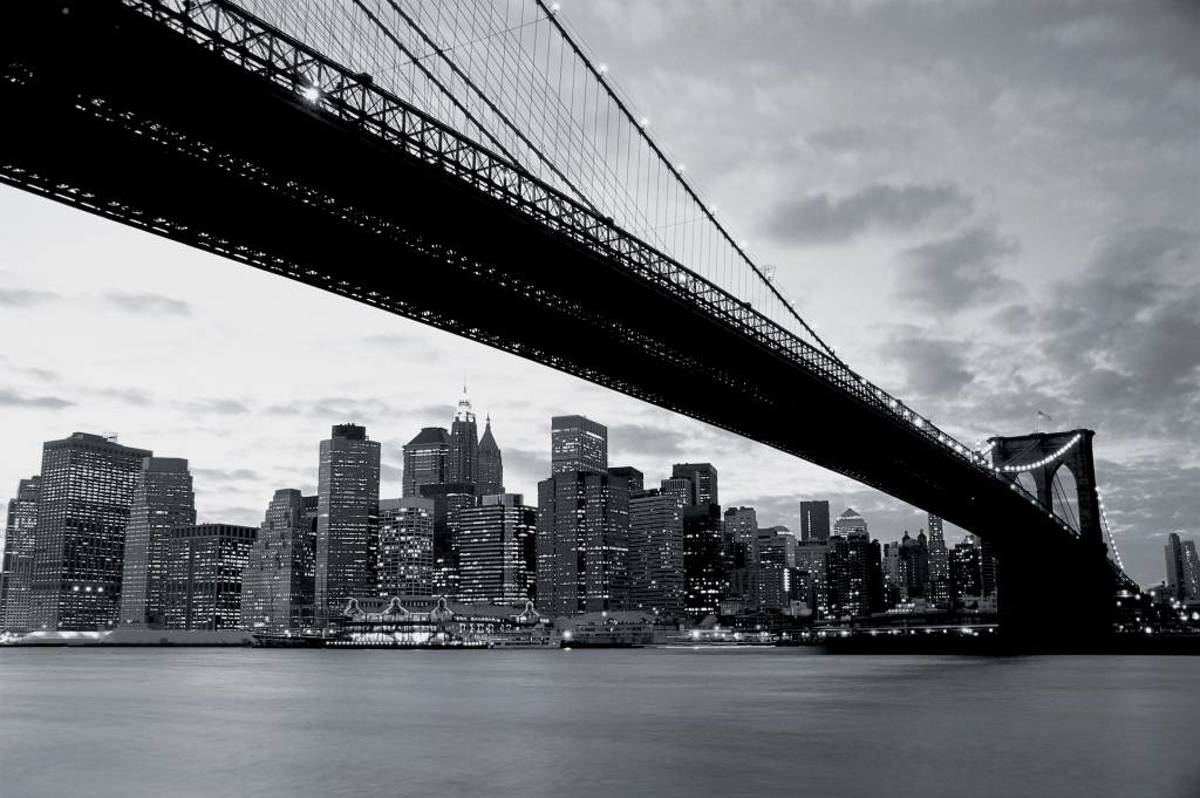 Brooklyn Bridge - Fotobehang - 232 x 315 cm - Zwart/Wit