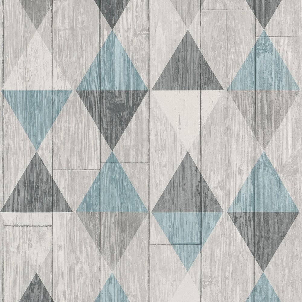 DUTCH WALLCOVERINGS Behang hout/ruit grijs 42505-10