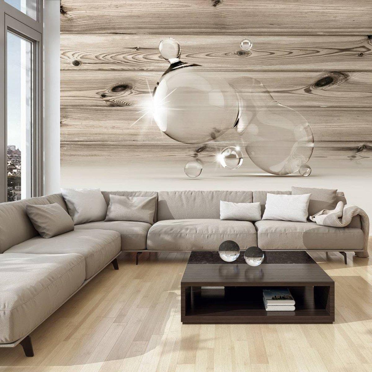Fotobehang - Druppels op hout - 200x140