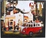 Small foot vintage decoratie blikbord hippie bus