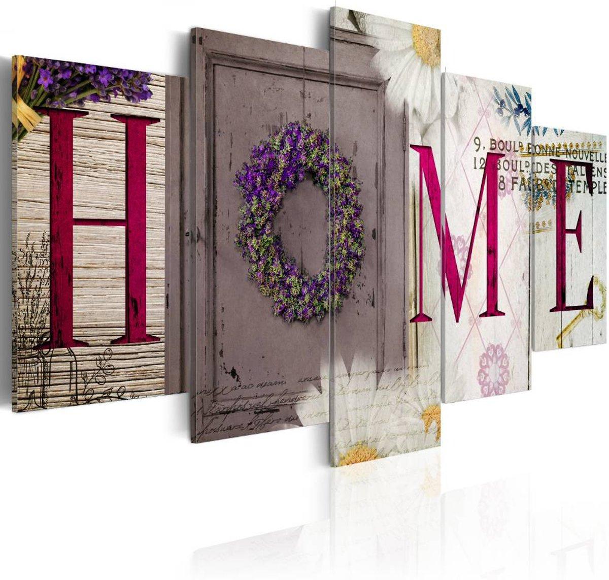 Schilderij - Welcome home - 200x100