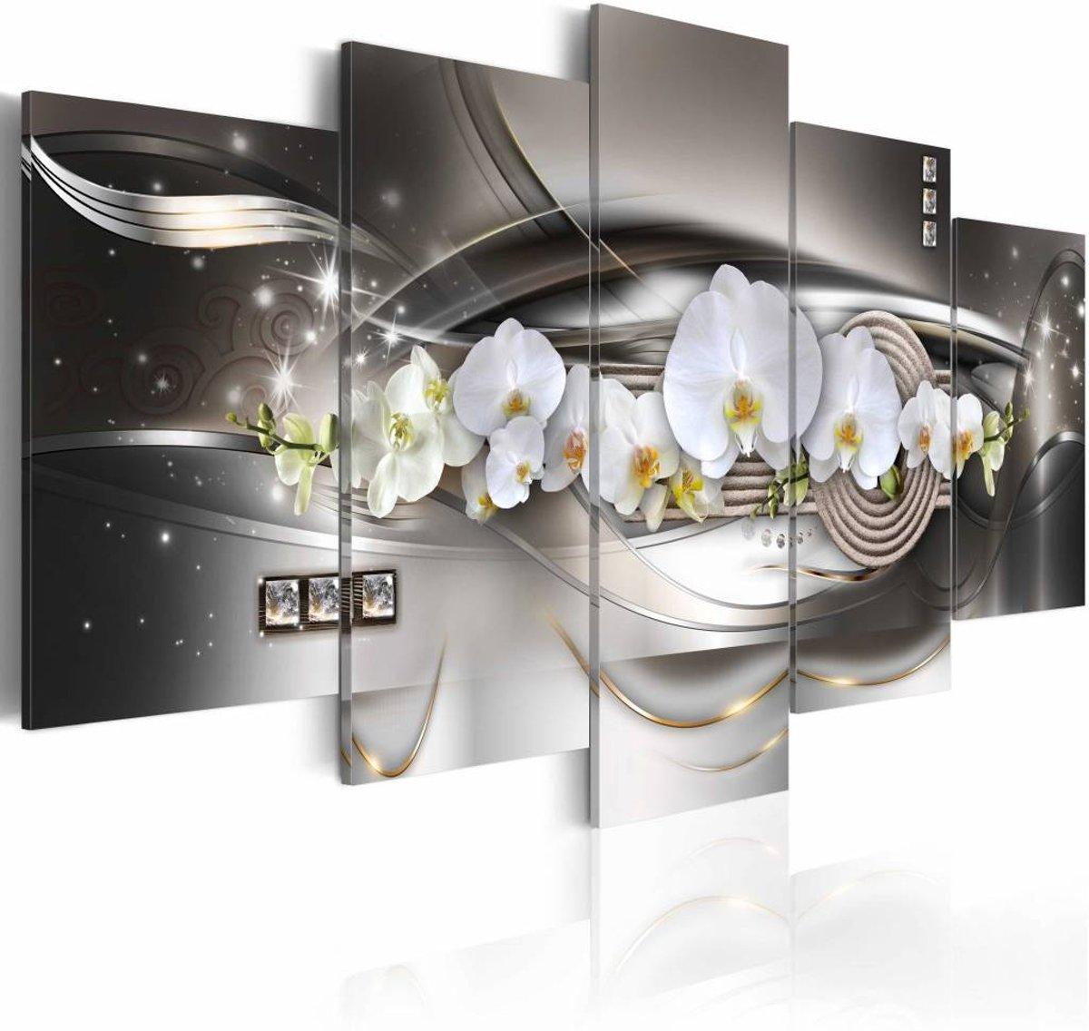 Schilderij - Steel orchids - 200x100