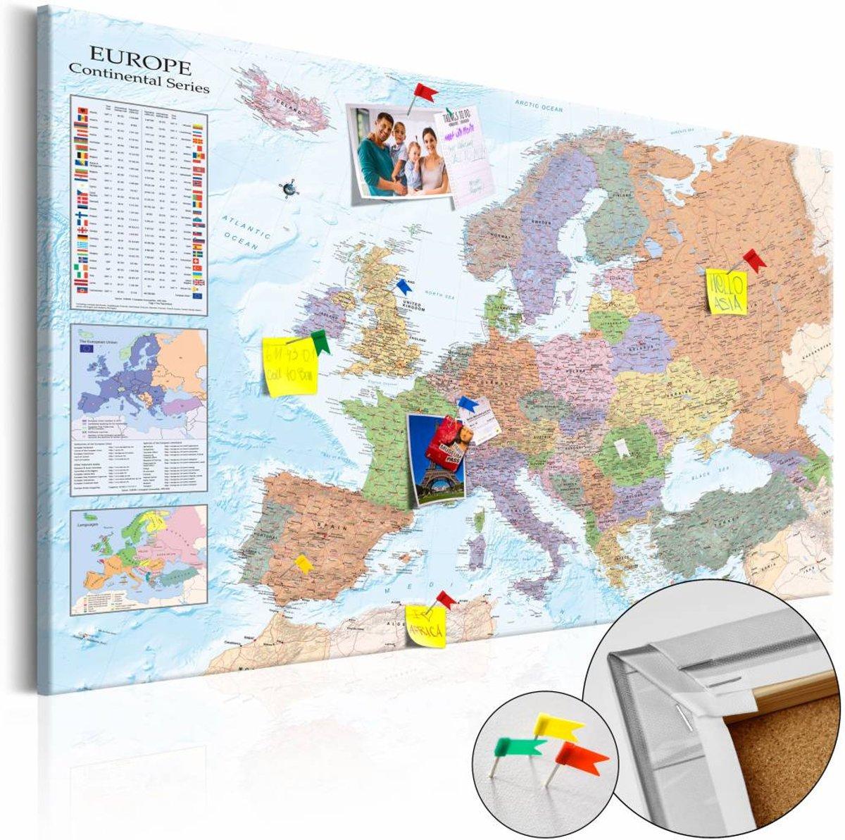 Afbeelding op kurk - World Maps: Europa - 120x80