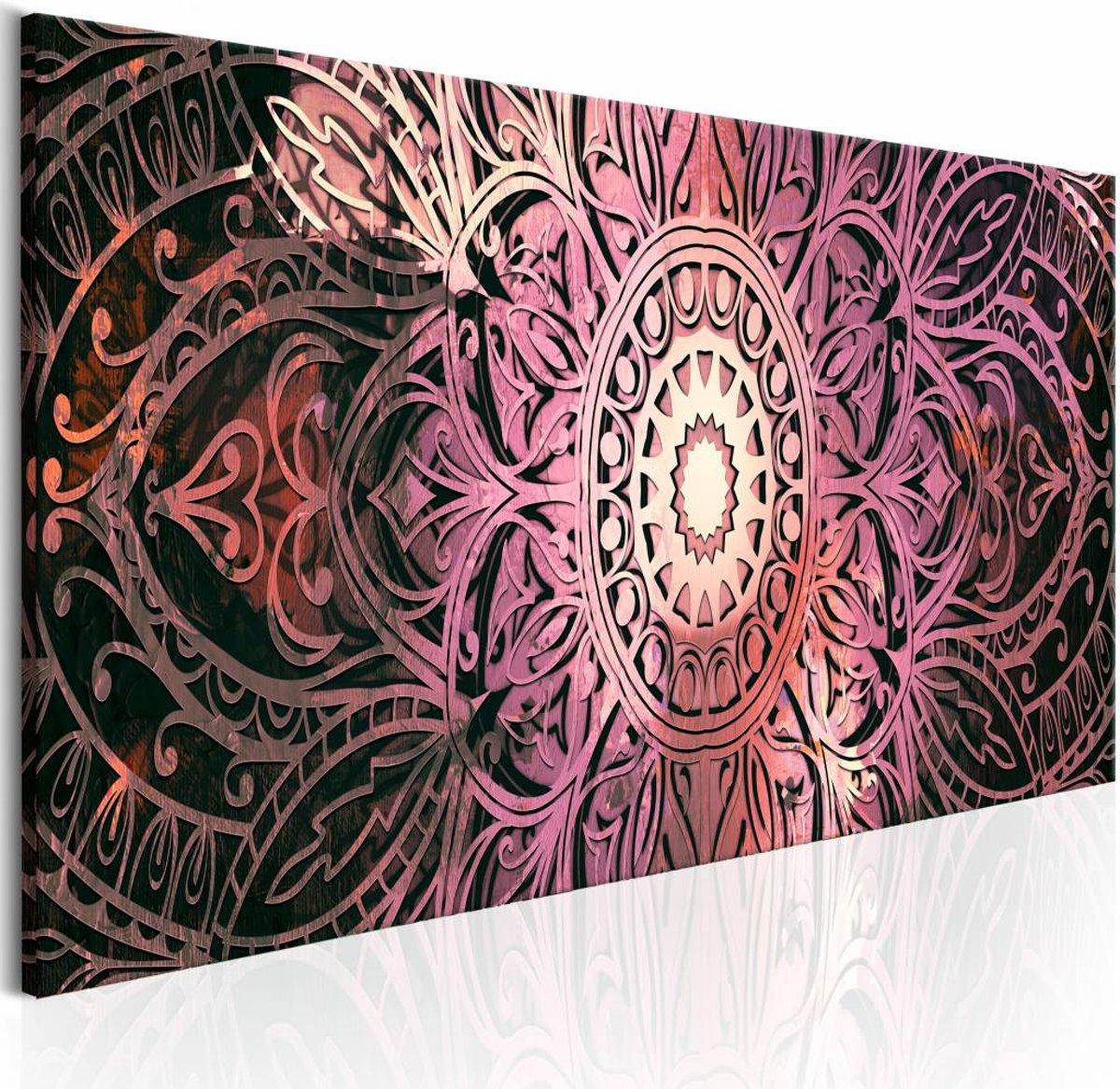 Schilderij - Ruby Mandala - 135x45