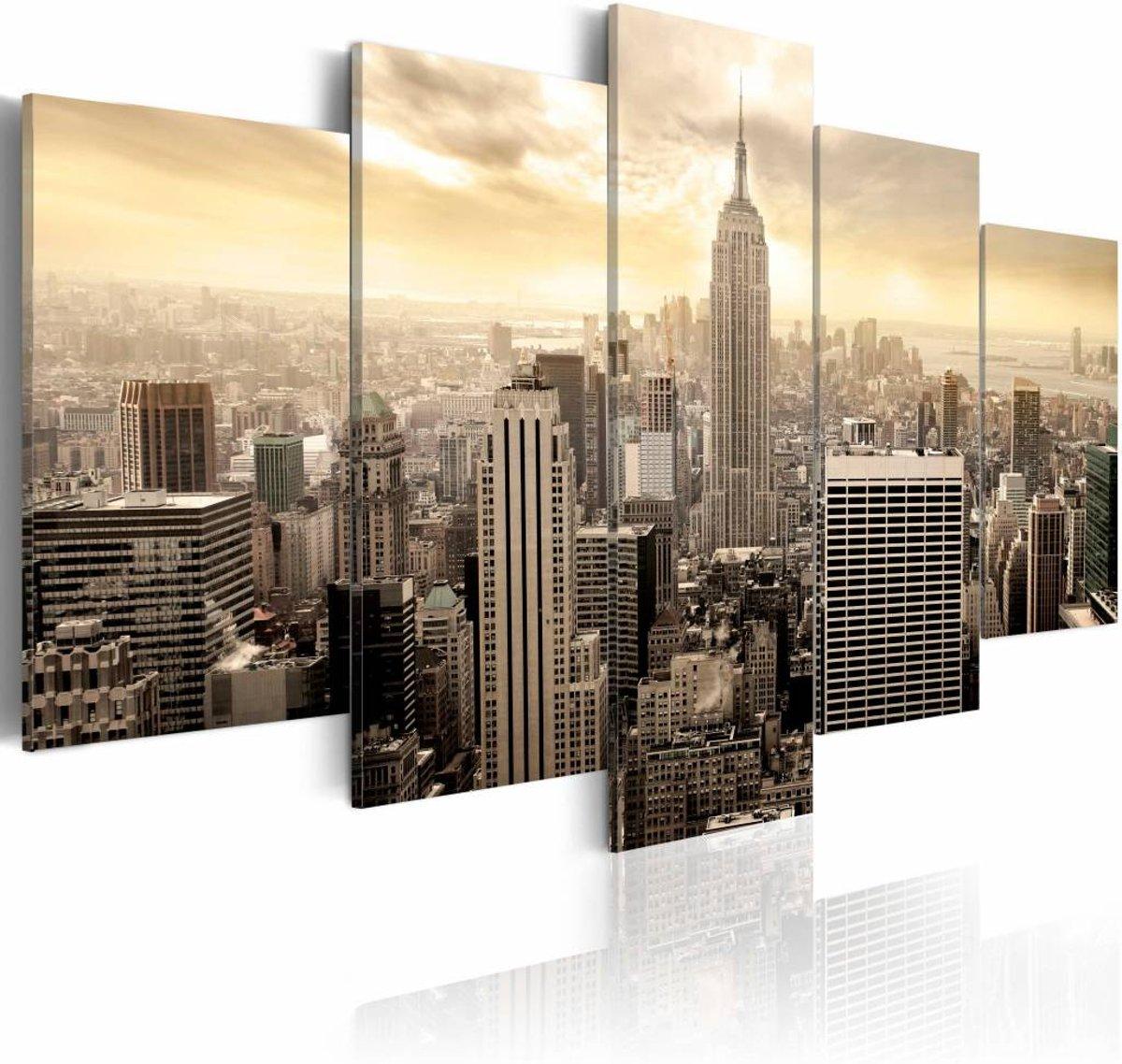Schilderij - New York and sunrise - 100x50