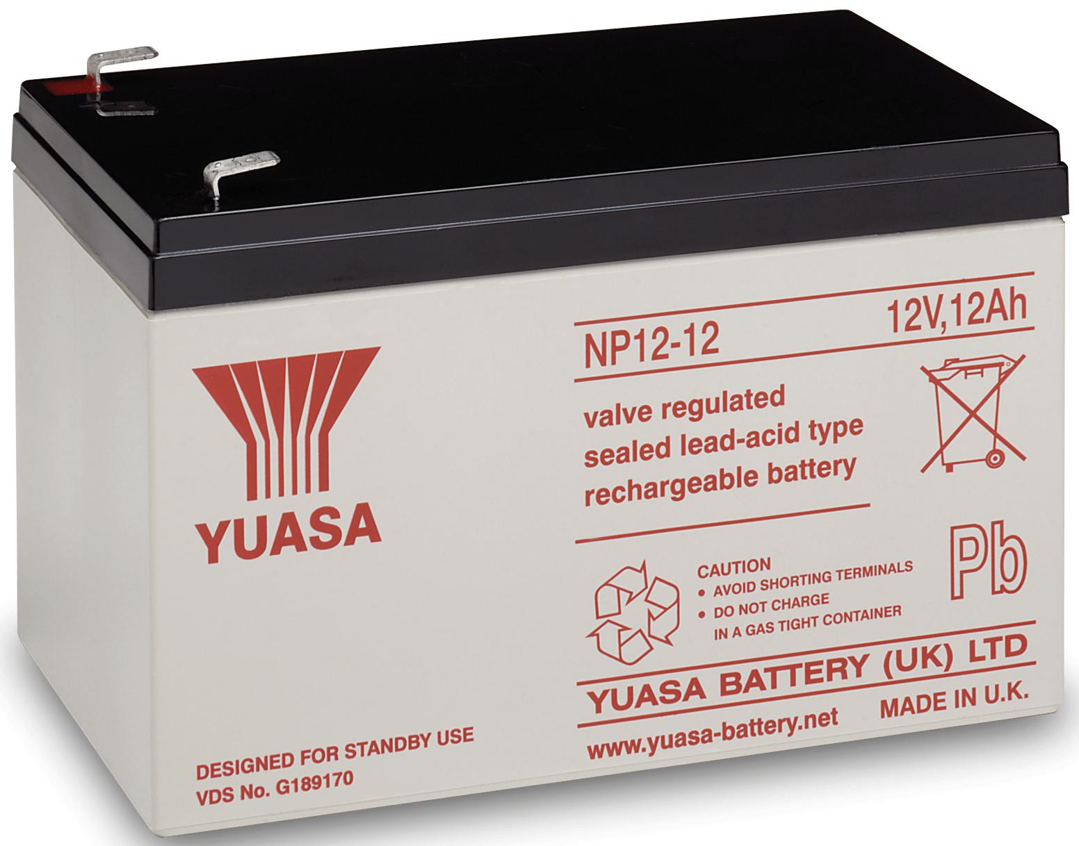 Yuasa NP12-12 NP12-12 Loodaccu 12 V 12 Ah Loodvlies (AGM) (b x h x d) 151 x 98 x 98 mm Kabelschoen 6.35 mm Onderhoudsvrij, VDS-certificering