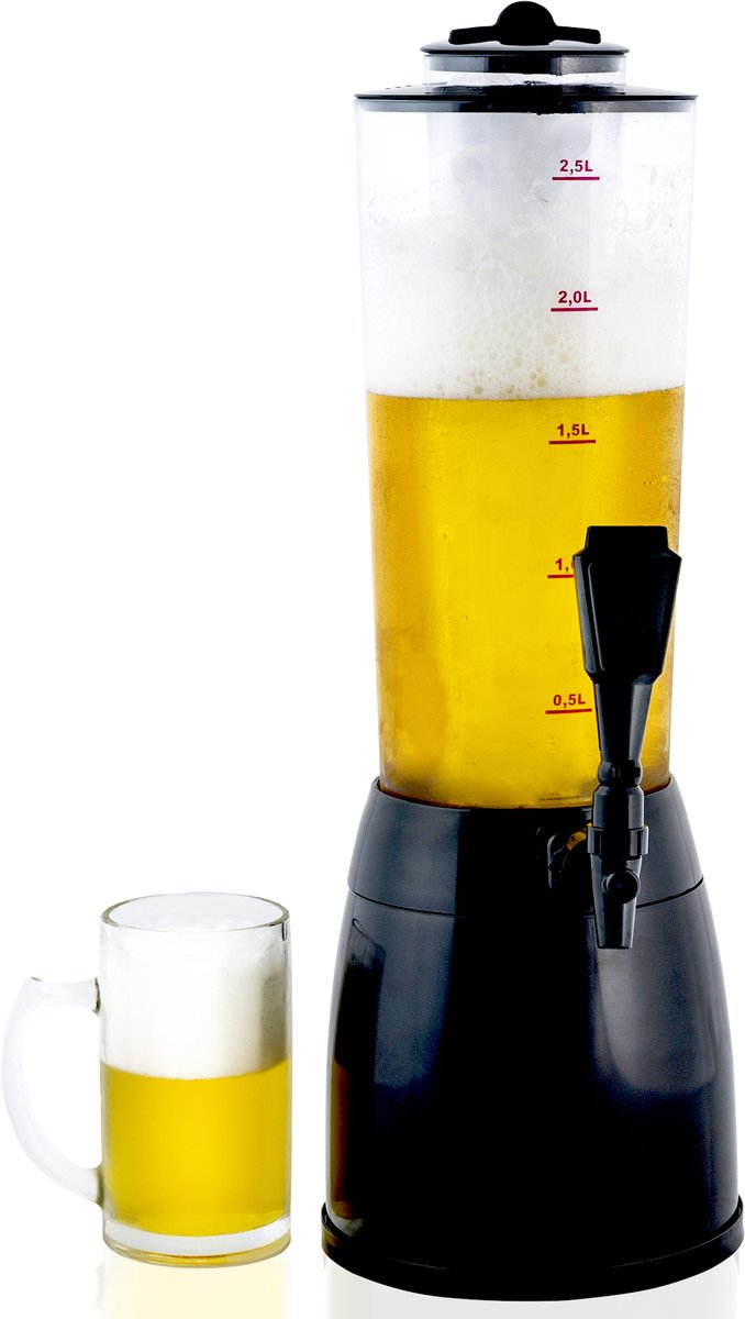 Gadgy Bier dispenser met koel element - Biertap - Biertoren - Drankdispenser - Sap Dispenser - 3,5 ltr - 53 cm.