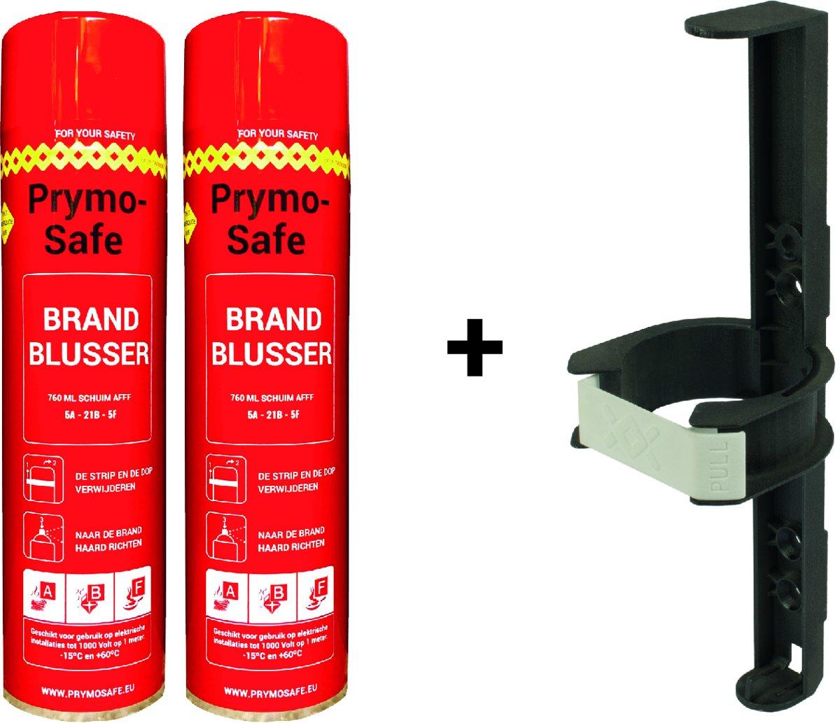 2x Prymosafe, Universele spray-blusser, inhoud 760 ml, 1 Brandblusser voor alle meest voorkomende beginnende branden inclusief 1 cliphouder.
