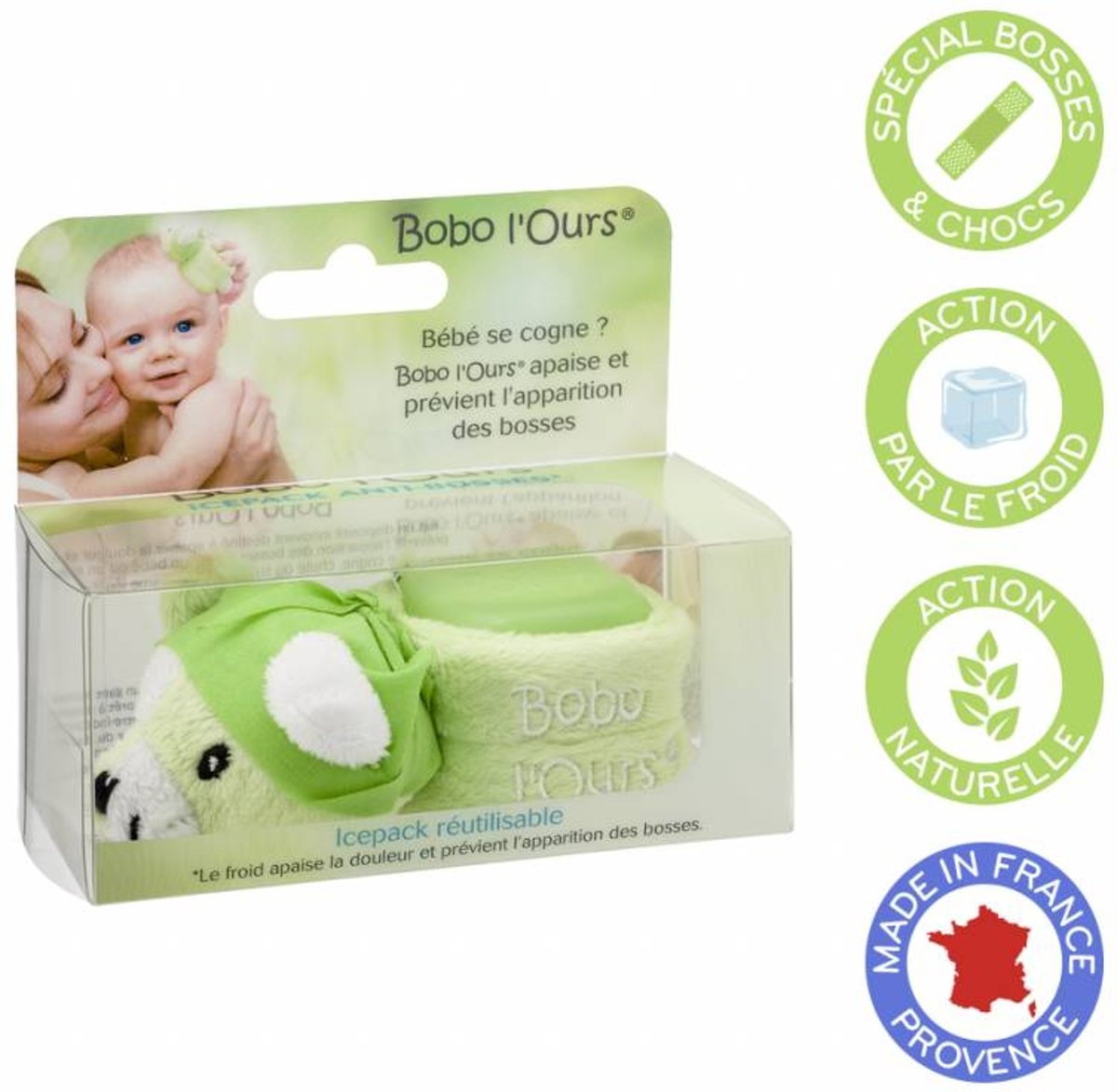 Vegan BOBO Green Bear - Baby Pijnverlichting