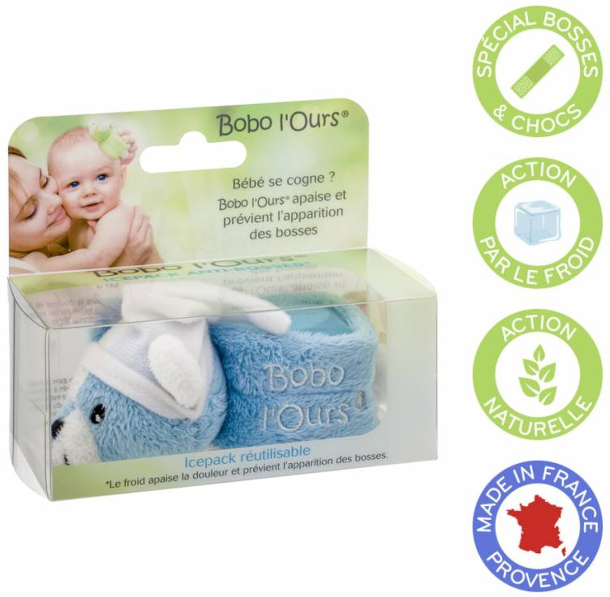Vegan BOBO Blue Bear - Baby Pijnverlichting