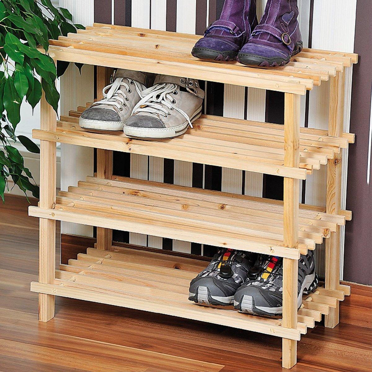 FSC? houten Schoenenrek - 12 Paar Schoenenkast - Afm. 54 x 26 x 52 Cm. - bruin