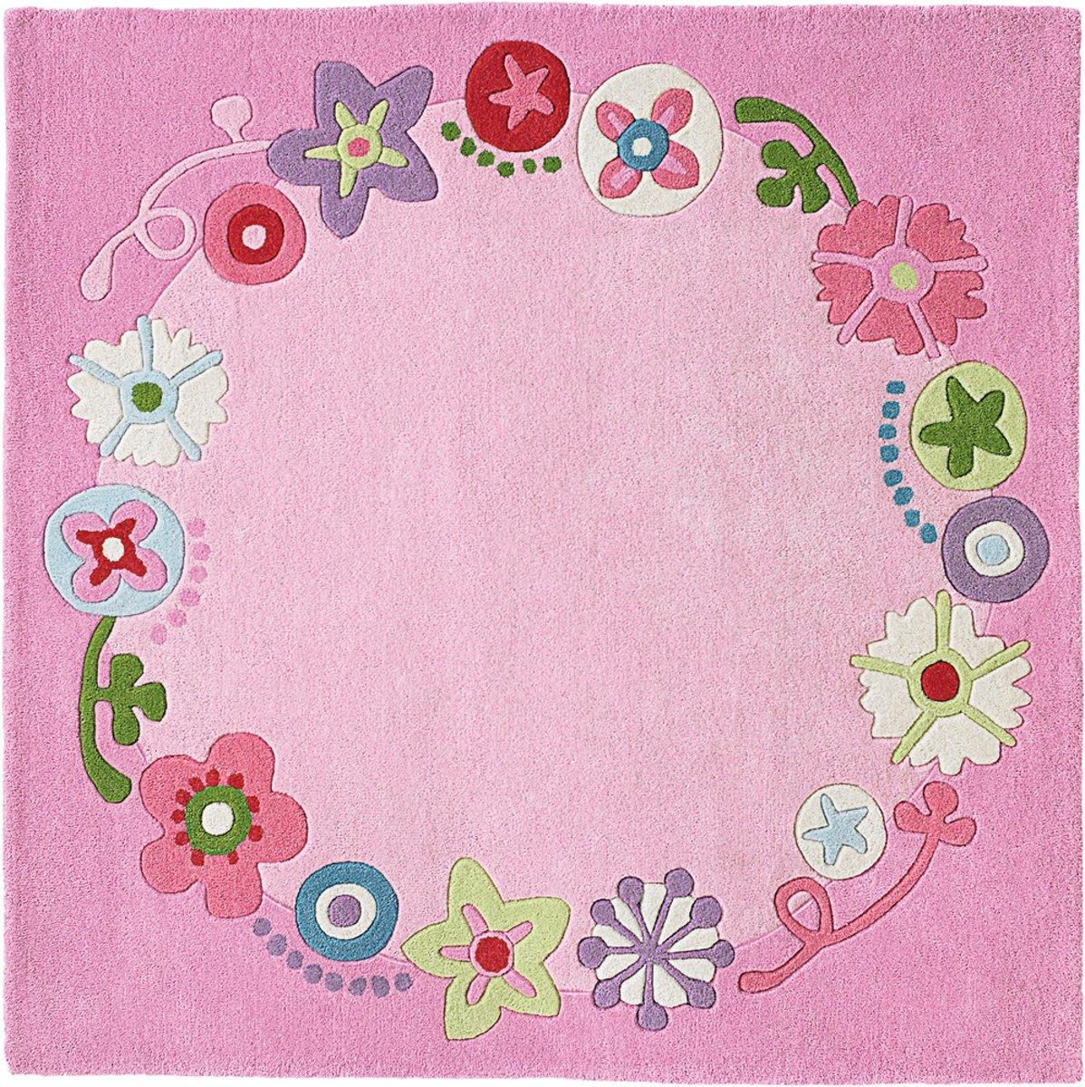 Haba vloerkleed bloemenkrans 140 x 140 cm roze