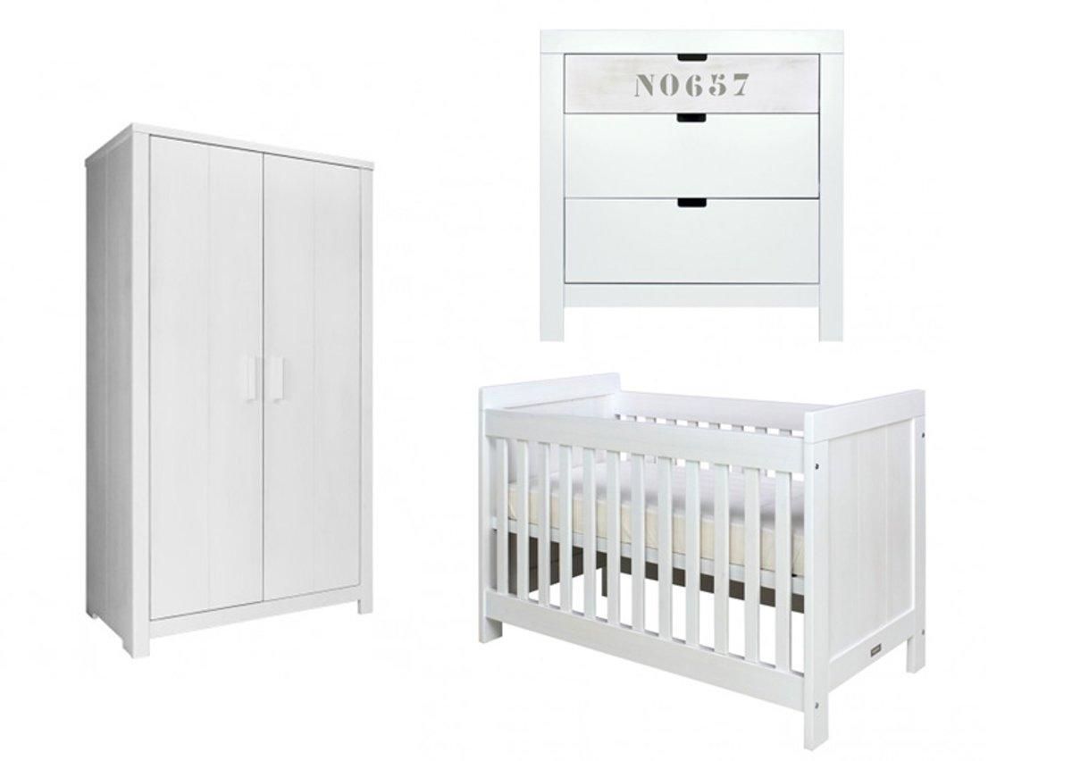 Bopita Basic Wood Babykamer 3 delig White Wash