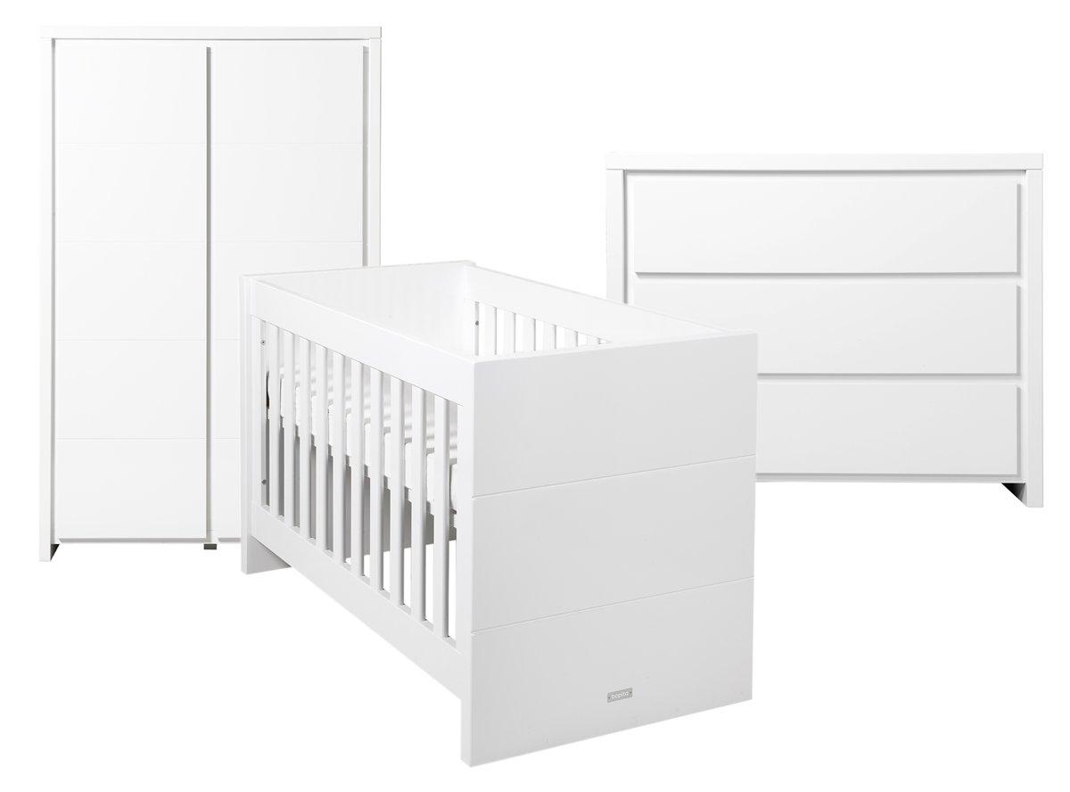 Bopita - Babykamer Camille - 3-Delige - Bed - Commode - 2-Deurskast - Wit