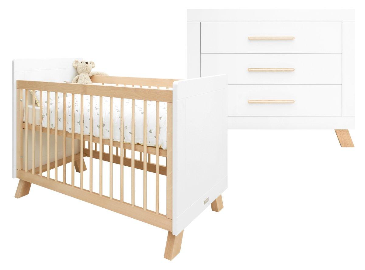 Bopita - Babykamer Lisa - 2-Delige - Bed - Commode - Wit/Naturel