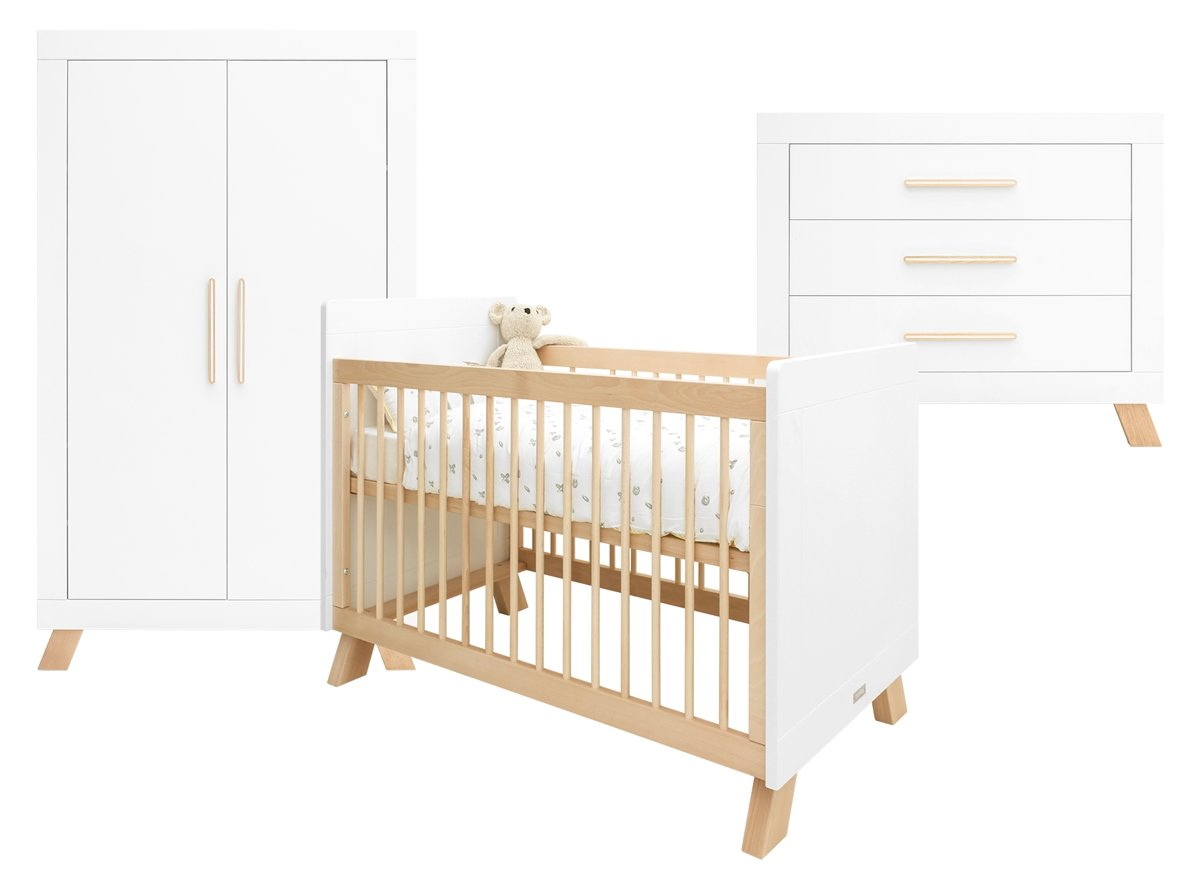 Bopita - Babykamer Lisa - 3-Delige - Bed - Commode - 2-Deurskast - Wit/Naturel
