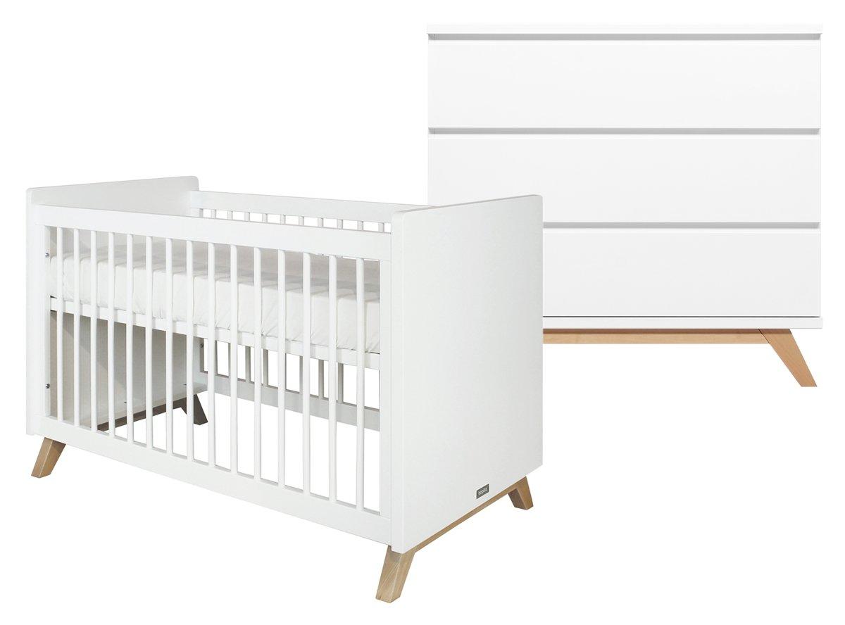 Bopita - Babykamer Lynn Greeploos - 2-Delige - Bed - Commode - Wit/Naturel