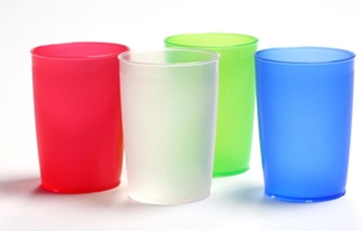 Eenvoudige drinkbeker van Melamine 250 ml - wit transparant