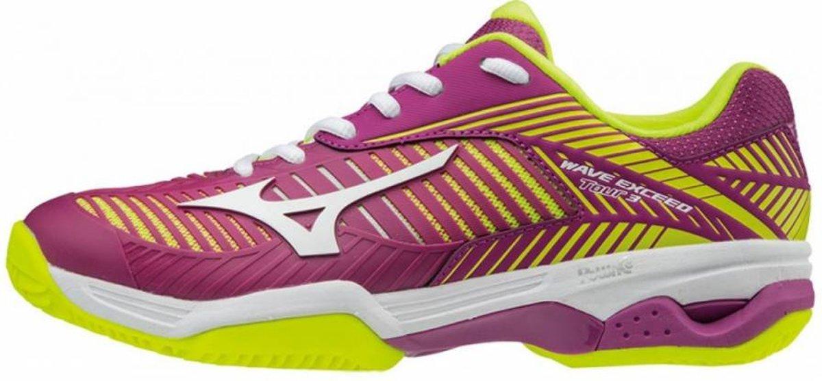 Mizuno Wave Exceed Tour 3CC paars geel tennisschoenen dames
