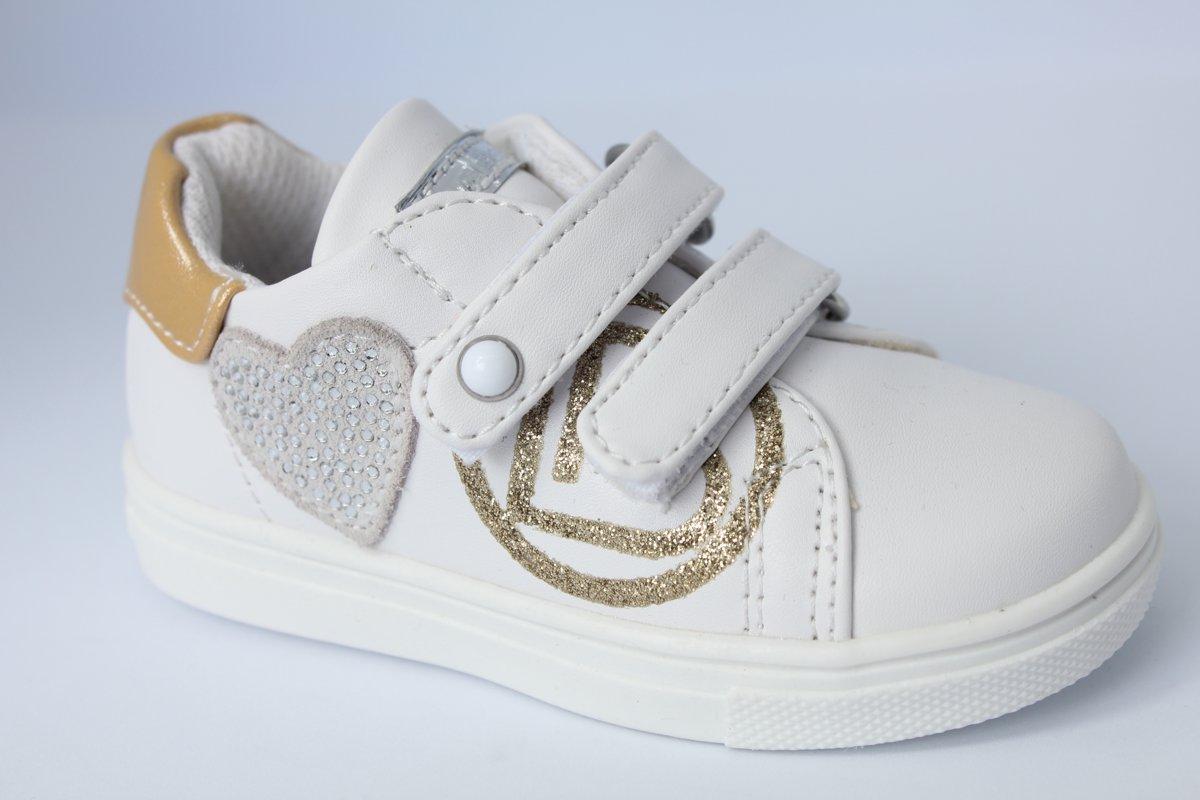 Laura Biagiotti baby tennisschoen klittenband - wit/goud - glitterhart - maat 23