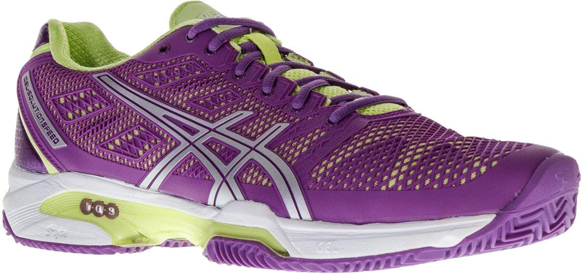 Asics Gel-Solution Speed 2 Clay  Tennisschoenen - Maat 43.5 - Vrouwen - paars/wit/groen