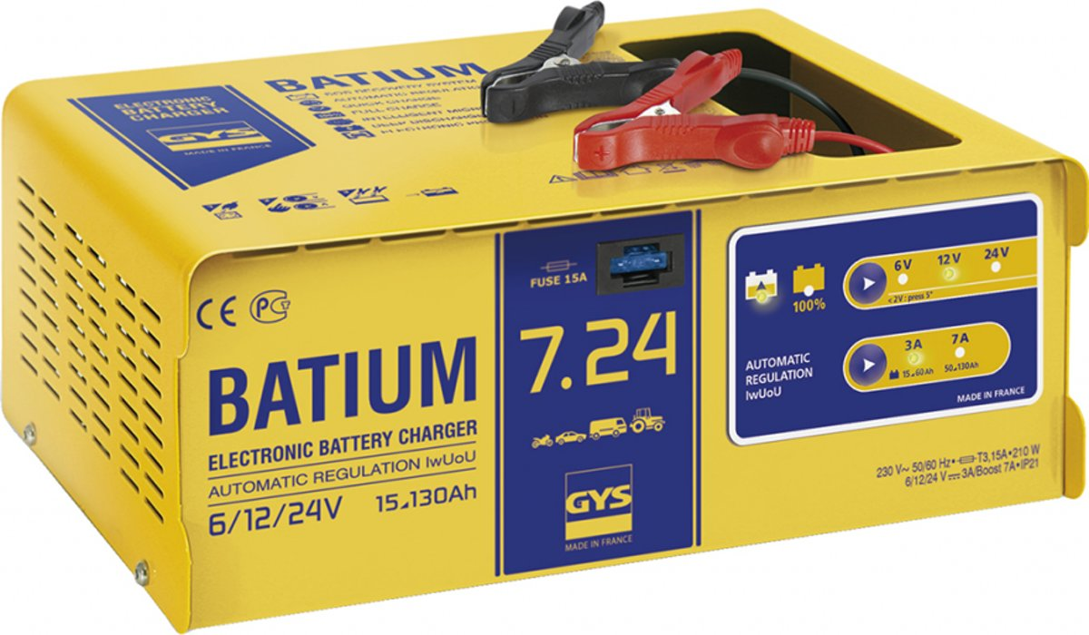 GYS Automatische acculader BATIUM 7.24 6 V, 12 V, 24 V 11 A 11 A
