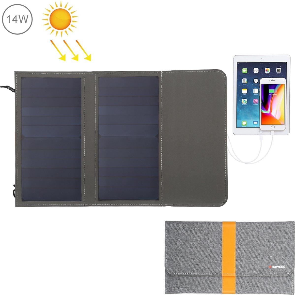 HAWEEL 14W Opvouwbare zonnepaneeloplader met 5V / 2.1A Max dubbele USB-poorten
