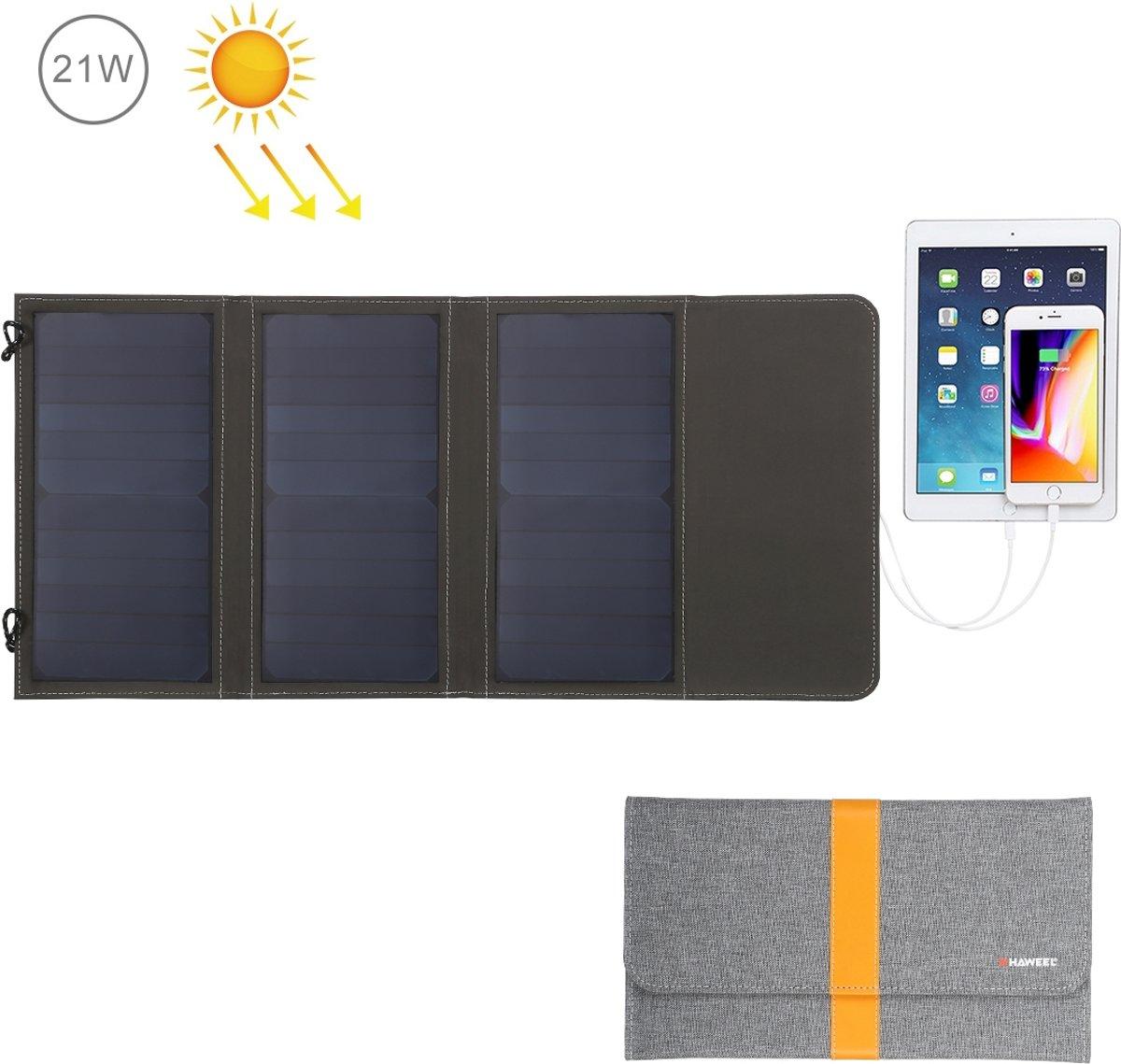 HAWEEL 21W Opvouwbare zonnepaneeloplader met 5V 2.9A Max dubbele USB-poorten